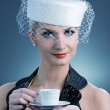 Lovely lady with coffee cup — Stock Photo #2084022