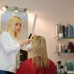 在美容院工作的美发师 — 图库照片