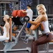 Strong woman lifting heavy weights - Stockfoto