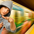 Young criminal in subway — Stock Photo #2084961