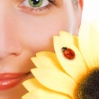 Girl with a green eyes and sunflower — Stock Photo