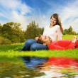 Young couple in love outdoors — Stockfoto