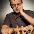 Thoughtful chess master - Foto Stock