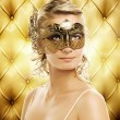 Beautiful woman in carnival mask — Stock Photo