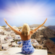 Beautiful girl on Santorini Island — Stock Photo #2086573