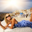 Beautiful  girl on Santorini Island - Stock Photo