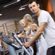 Stock Photo: Group of jogging in a gym