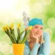 Beautiful teenager with spring flowers — Stock Photo #2087087