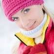 Beautiful young blond in winter forest — Stock Photo #2087187