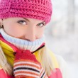 Stock Photo: Frozen womin winter clothing