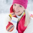 Pretty young woman winter potrait — Stock Photo