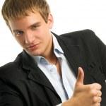 Handsome man showing ok gesture — Stock Photo #2087458