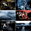 Sport car interior collage — 图库照片