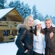 Women in winter clothing outdoors — Stock Photo