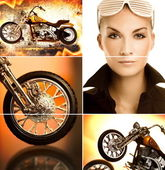 Biker collage — Stock Photo