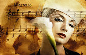 Beautiful woman over abstract melody background — Stock Photo