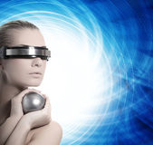 Beautiful cyber woman with silver ball — Stock Photo