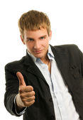 Handsome man showing ok gesture — Stock Photo