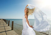 Woman with white shawl — Stock Photo