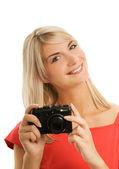 Beautiful woman with digital camera — Stock Photo