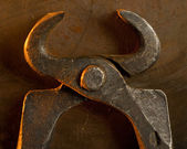 Old metal tongs — Stock Photo