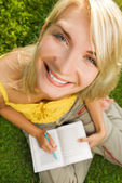 Funny wide angle portrait of woman — Stock Photo