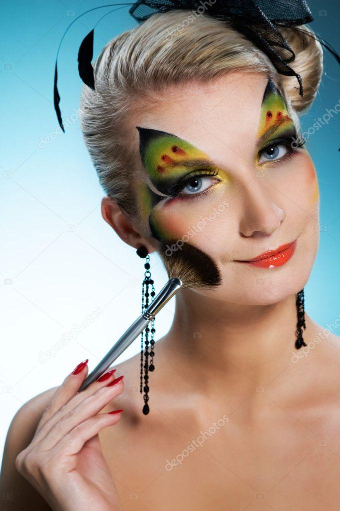 Beautiful woman with creative face art stock photo for Beautiful creative art