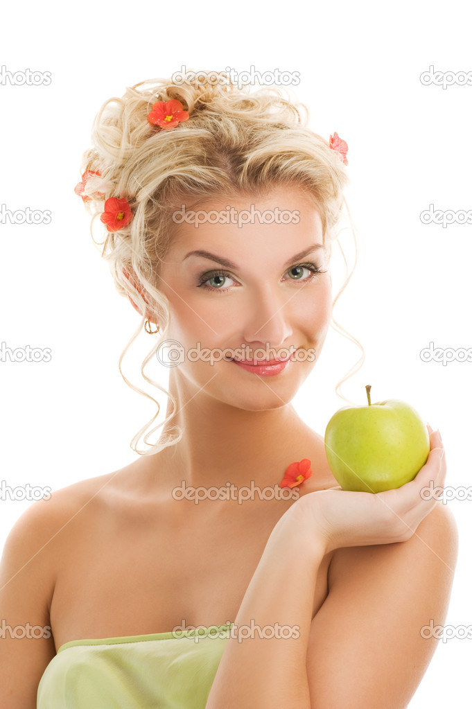 Beautiful young woman with ripe green apple. Spring concept    #2084396