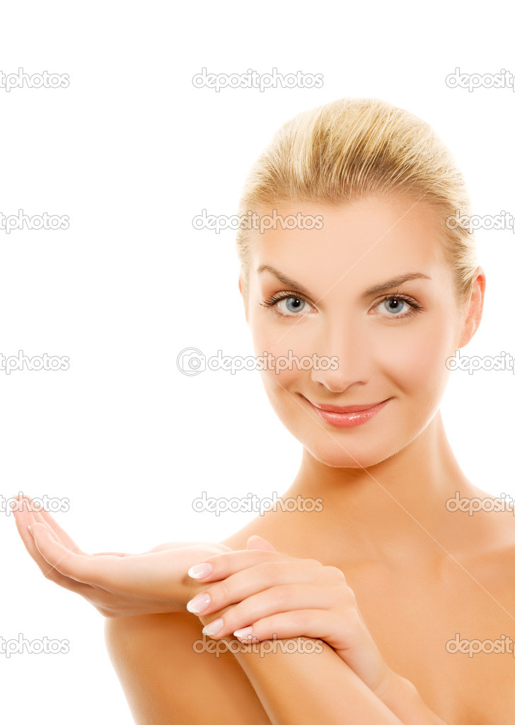 Beautiful young woman with outstretched hand — Stock Photo #2087882