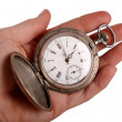 Hand shows antique pocket watch — Stockfoto #2478389