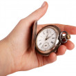 Silver pocket watch in hand — Stock Photo