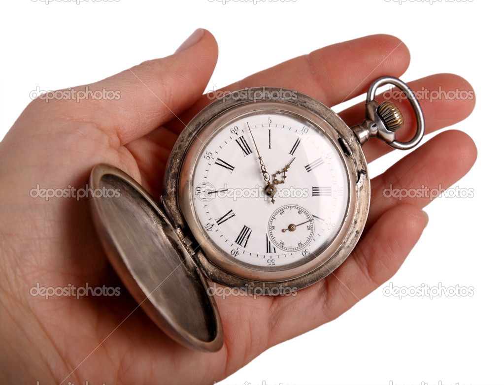 Hand shows antique pocket watch — Stock Photo © Iguasu ...
