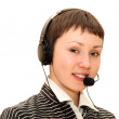 Woman  with headset — Stock fotografie