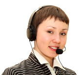 Woman with headset — Stok fotoğraf