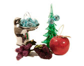 Various christmas ornaments isolated on — Stock Photo