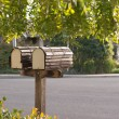 Mailbox duo on suburban street — Stock Photo