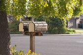 Mailbox duo on suburban street — Stock Photo