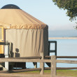 Stock Photo: A yurt on lake cachuma