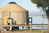 A yurt on lake cachuma — Stock Photo