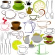Cups and teapots - Stock Vector
