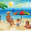 A family on vacation - Stock Vector