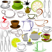 Cups and teapots — Stock Vector