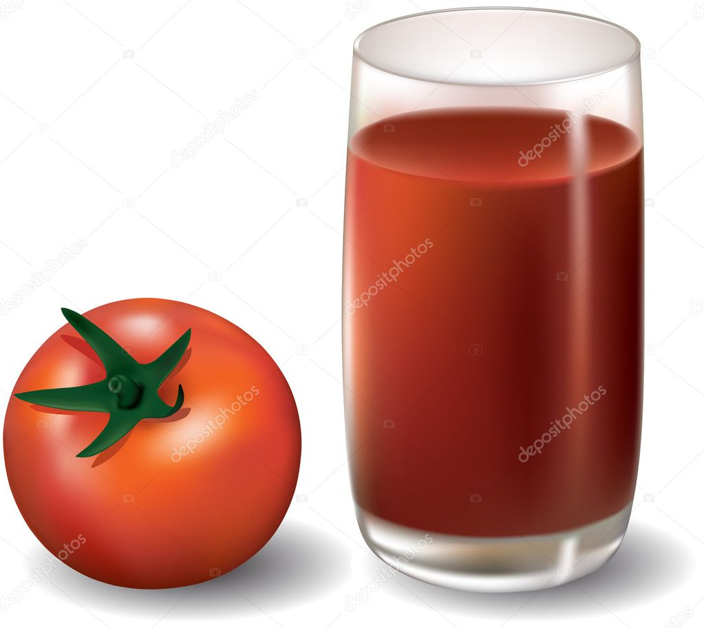 Glass of tomato juice and tomato (mesh)  Stock Vector #2283017