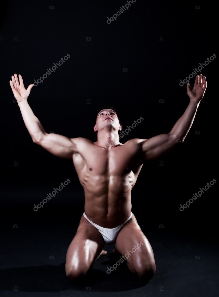 Picture of athlete on his knees  Stock Photo #1461866
