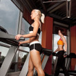 Two athletes doing exercise on treadmill — 图库照片 #1586296