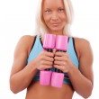 Cute girl with dumbbells — Stock Photo