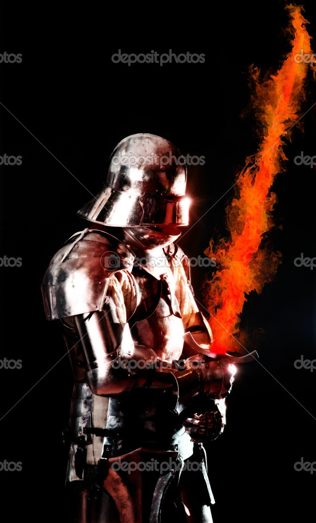 Powerful heavy fighter with sword and helmet — Stock Photo #1925562