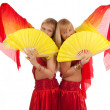Happy girls with fantails — Stock Photo