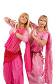 Two women dancing belly dance — Stock Photo