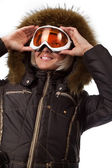 Picture of cute skier — Stock Photo